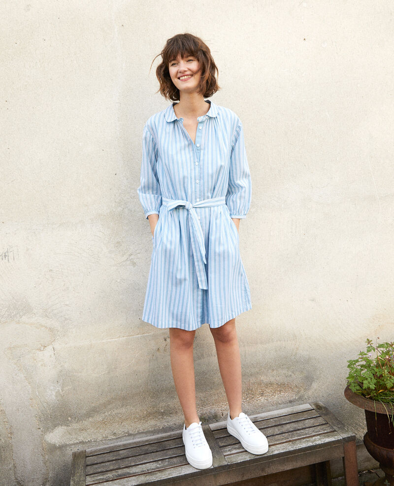Kleid mit Hemdkragen ADRIATIC/OFF WHITE STRIPES