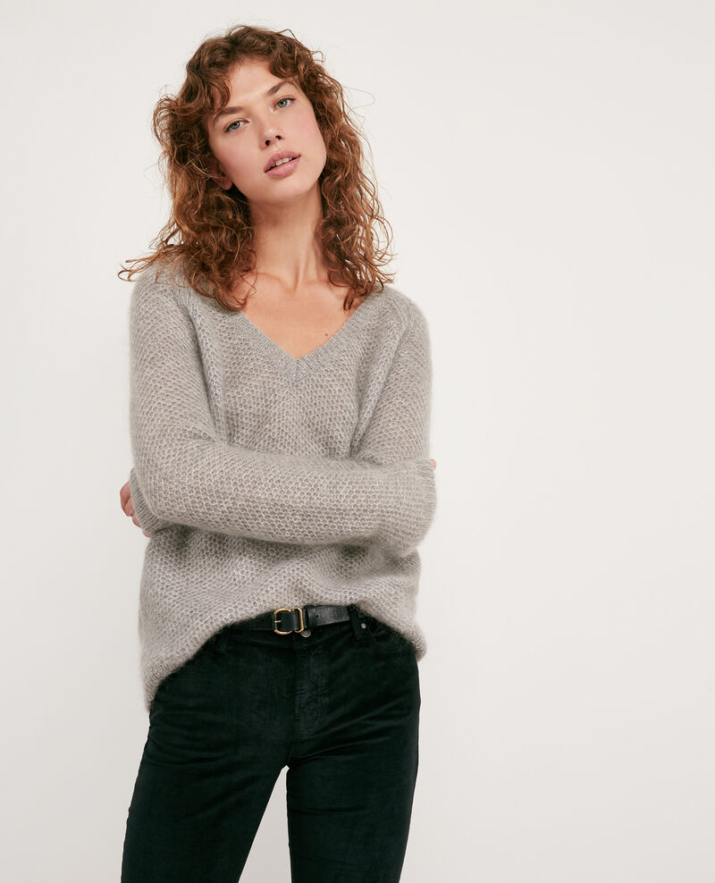 Mohair-Pullover Light grey/off white Dahbia