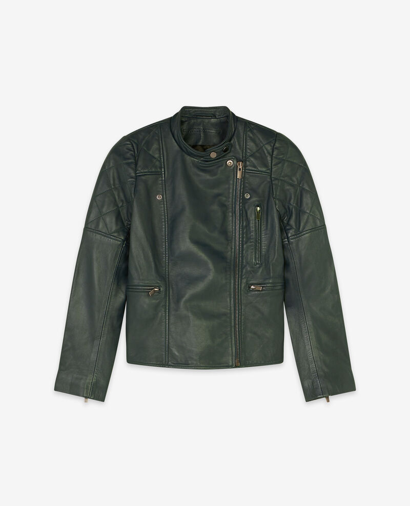Lederblouson Deep green 9dablique