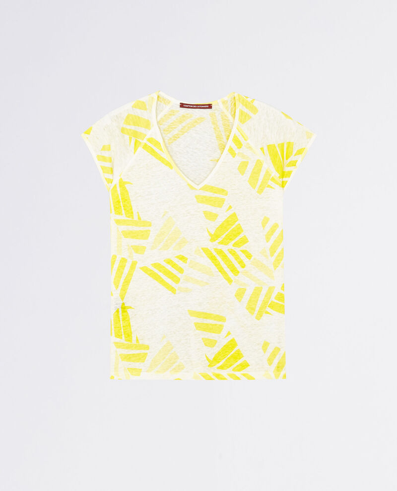 Bedrucktes Leinen-T-Shirt Banana leaves bouton d'or Caspienne