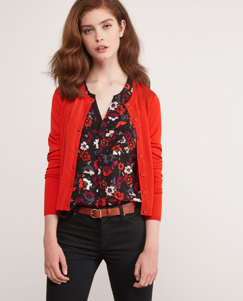 Feiner Cardigan aus Merinowolle Orange red Dappeau
