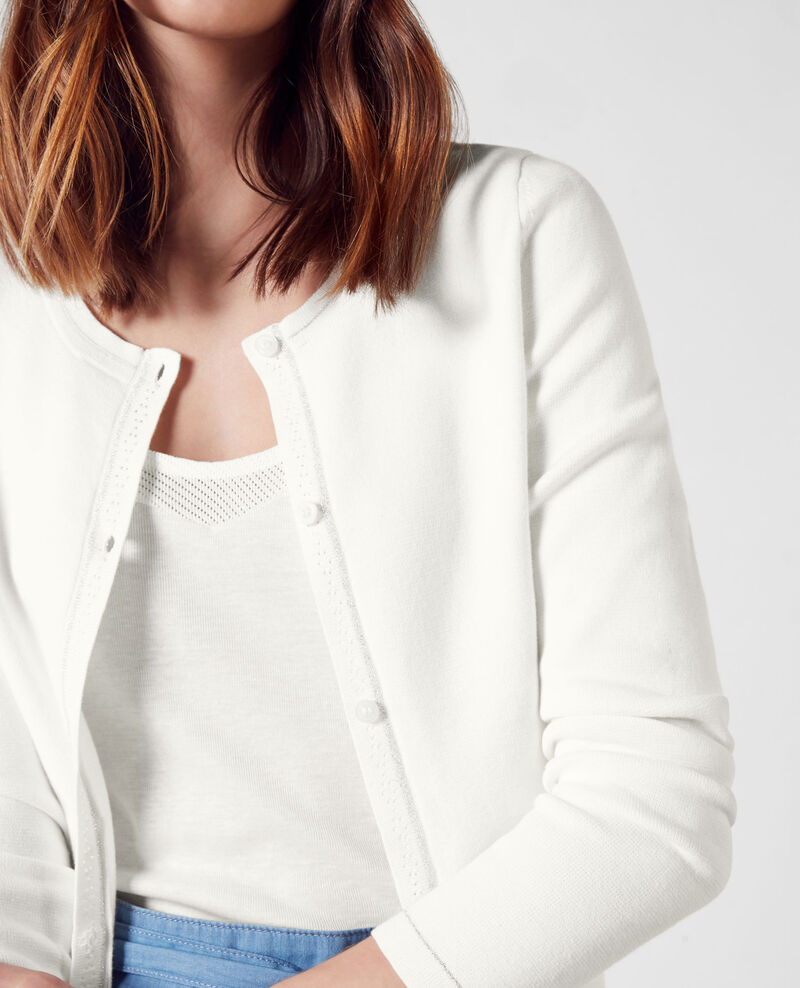 Cardigan mit Lurex Off white Cognac