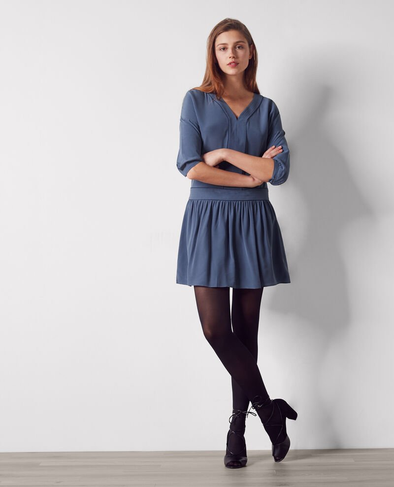 Seiden-Kleid Ink blue Chanson