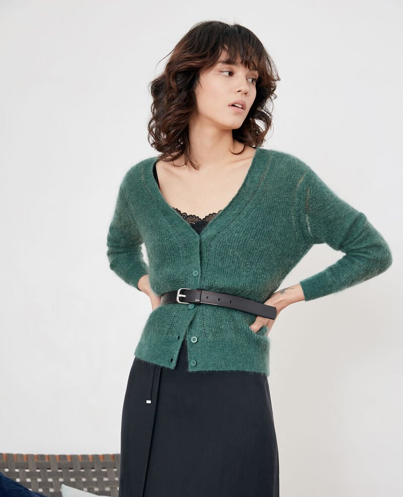 Cardigan mit Mohair Peppermint Frisquette
