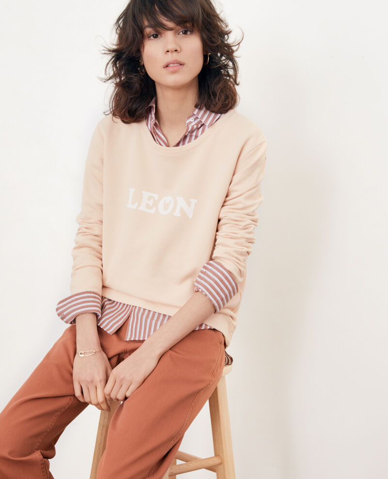 Sweatshirt mit Léon-Stick Nude Douchoir