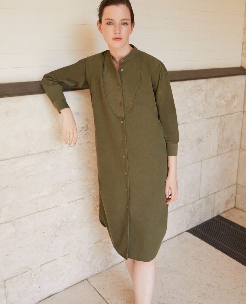 Samtkleid mit Mao-Kragen Olive night Goiselle