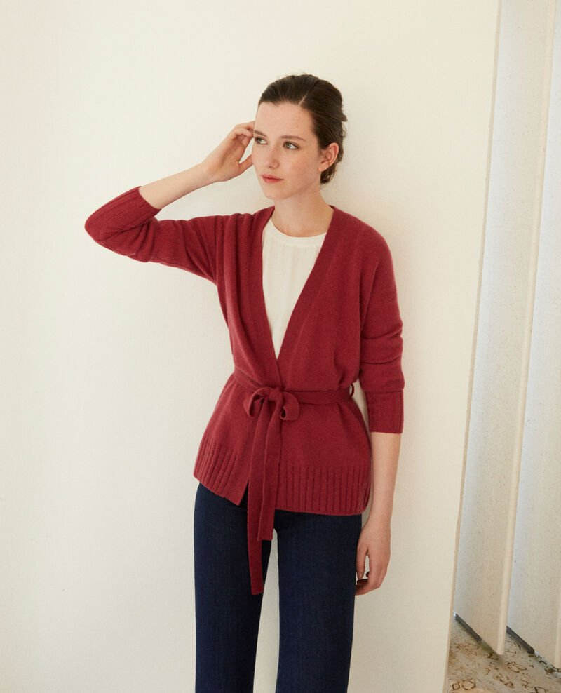Cache-cœur-Cardigan aus Kaschmir Earth red Germain