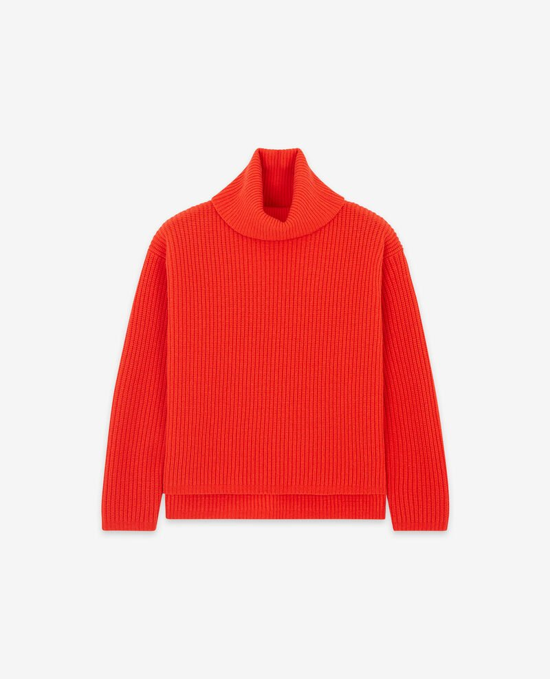 Rollkragenpullover aus reiner Wolle Orange red Dacheville