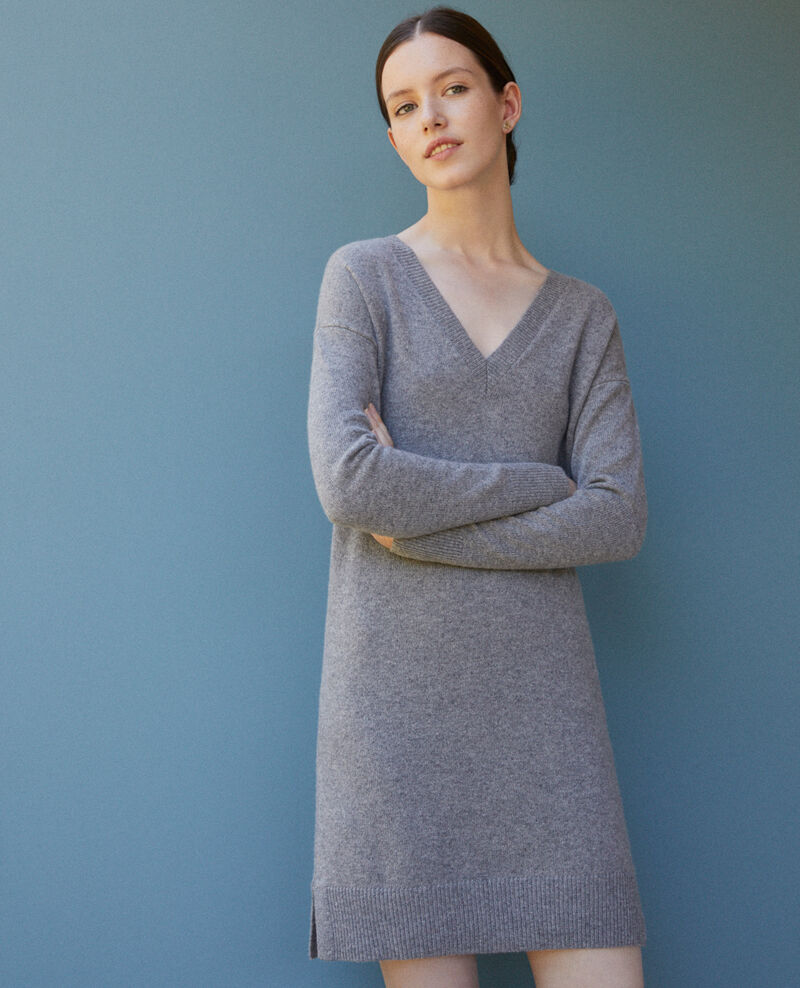 Kleid aus Kaschmir LIGHT HEATHER GREY