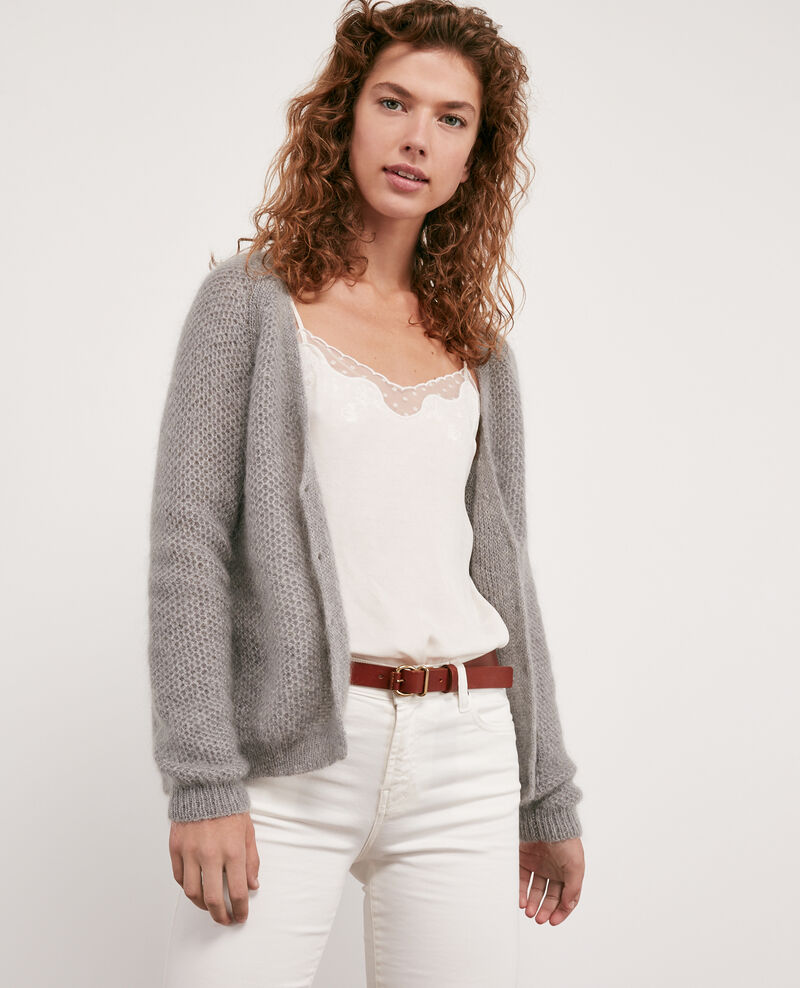 Mohair-Jacke Light grey/off white Djoan