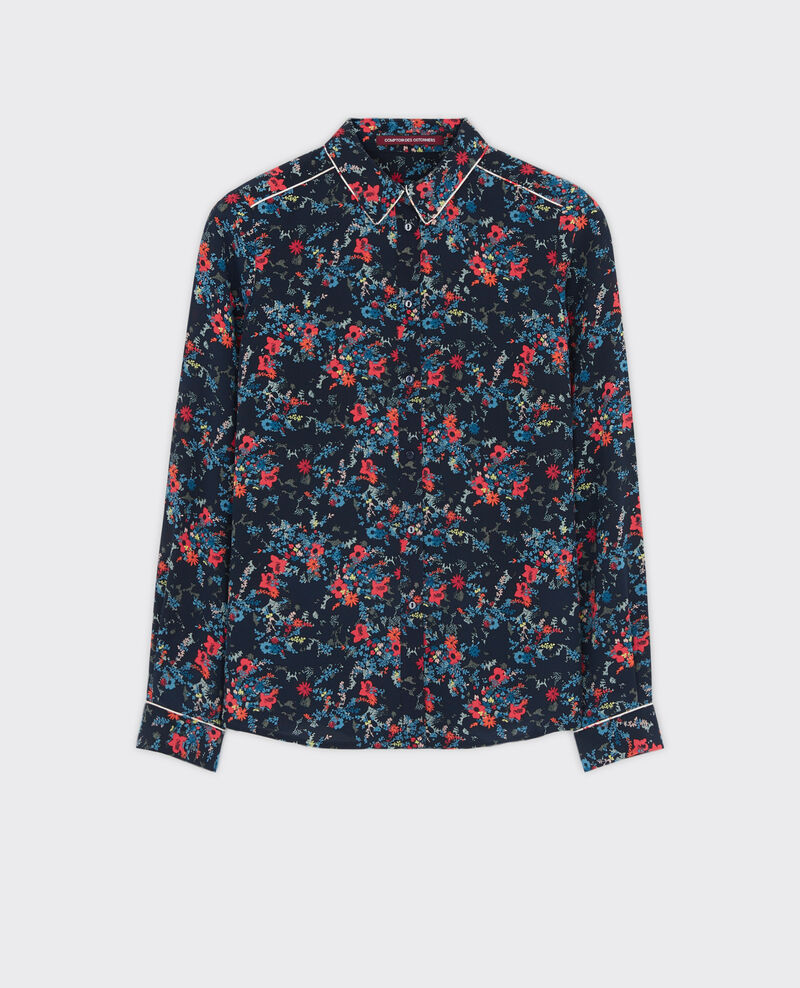 Gemusterte Seiden-Bluse Bouquet leaves dark navy Chifoumi