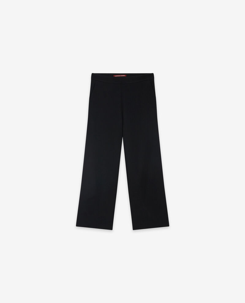 Weite Cropped-Wollhose Noir Delaplace