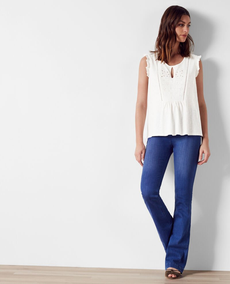 Volant-Top mit Stickereien Off white Chacha