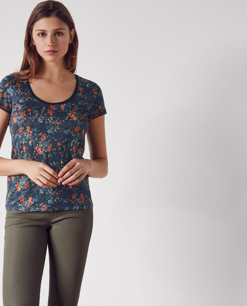 Gemustertes Leinen-T-Shirt mit Stickereidetails Bouquet leaves dark navy Clafouti