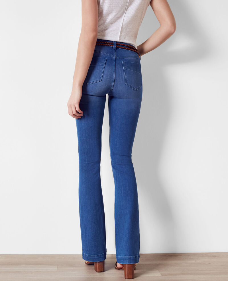 "Flare-Jeans ""Folie douce"" mit hoher Taille Cristal blue Clairiere"