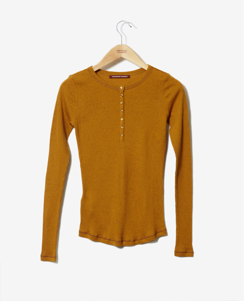 T-Shirt mit Knopfleiste Golden brown Grila