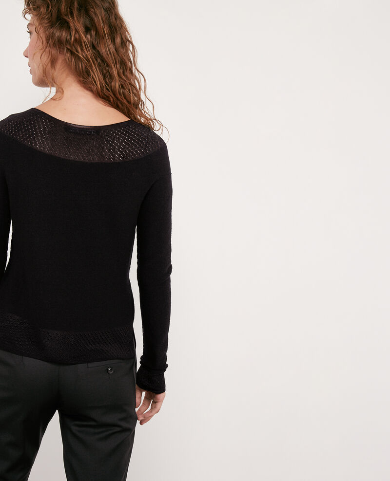 Nahtloser Strickpullover aus 100 % Wolle Noir Disposition