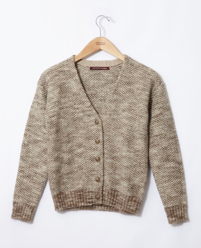 Strickjacke aus meliertem Strick Silver gray/trush Gordius