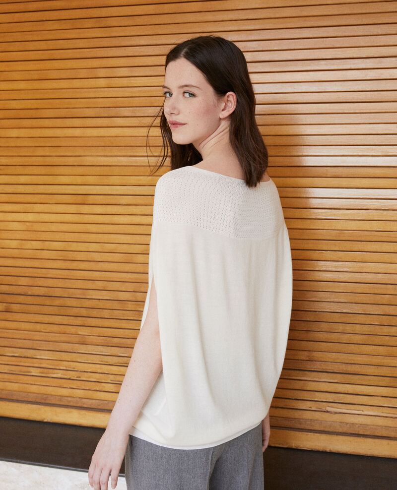 Whole Garment Pullover in Kugelform Off white Gelsa