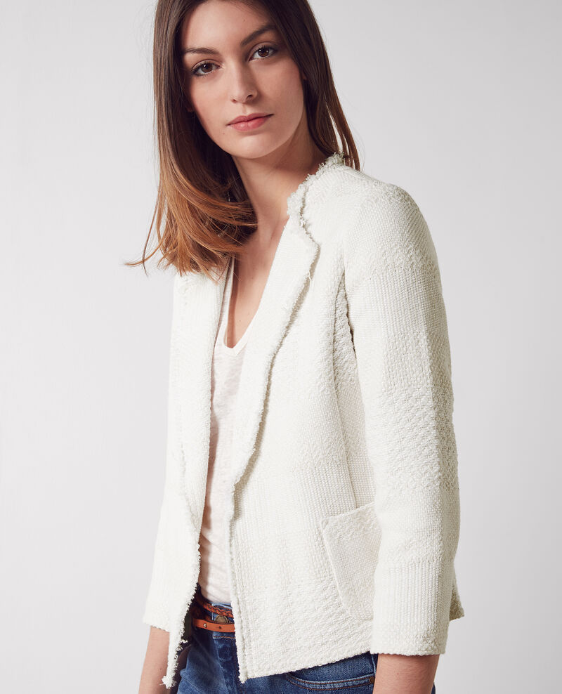 Offene Tweed-Jacke Off white Chaton