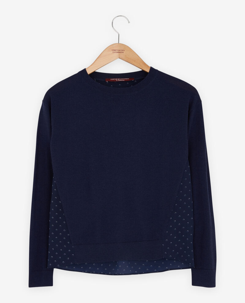 Materialmix-Pullover Ring dots marine Fripon