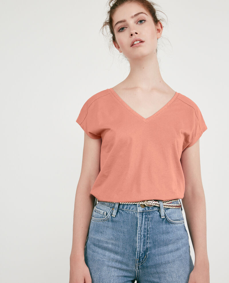 T-Shirt mit Lurex-Details Rose clay Dactylo