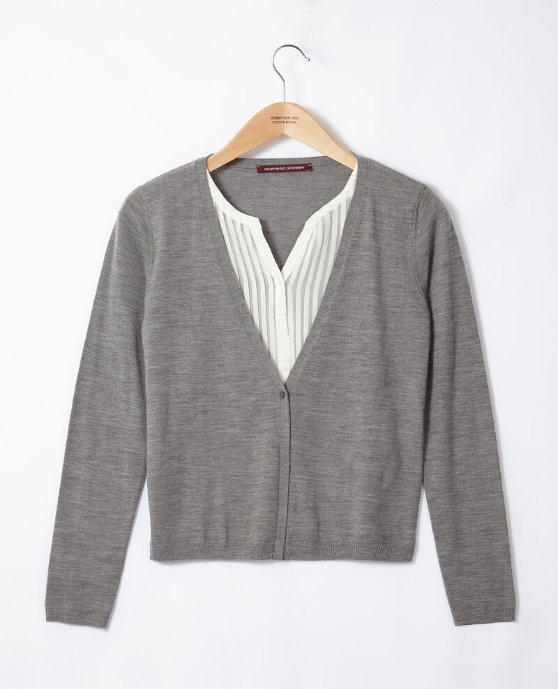 Cardigan-blouse trompe-l'œil Light grey/off white Gapristi