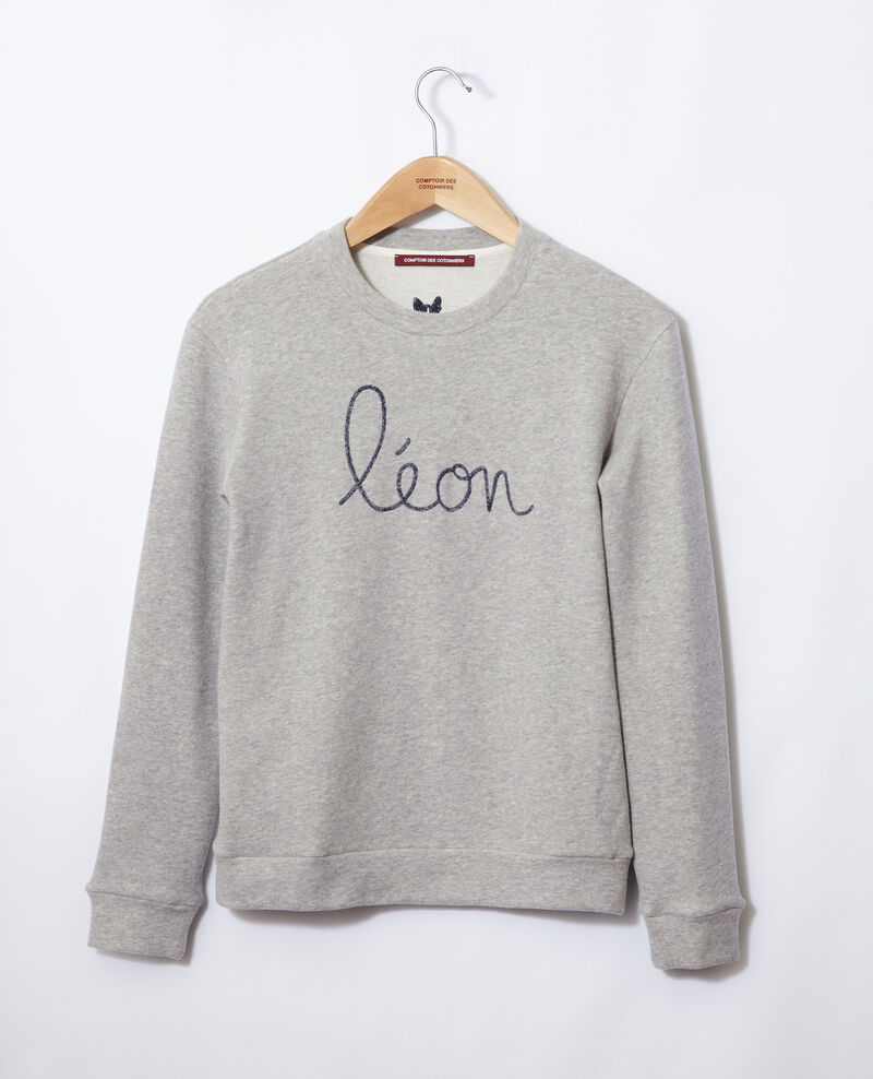 Sweatshirt mit Leon-Stickerei Chine grey/peacoat Gleon