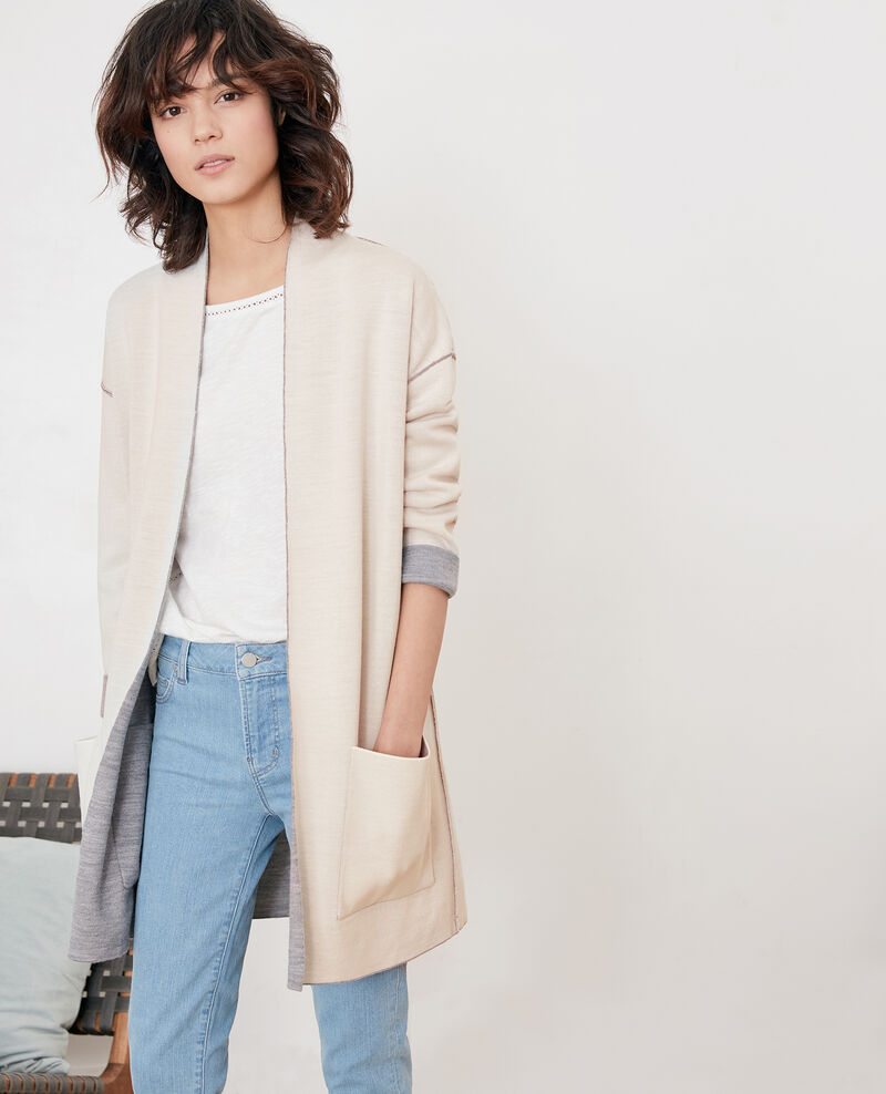 Wendebarer Cardigan aus Wolle  Cement/off white Finger