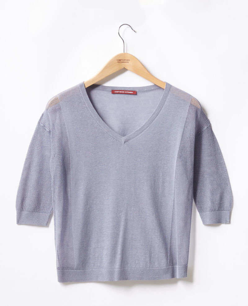 Pullover mit Ajourmusterdetails WASHED BLUE