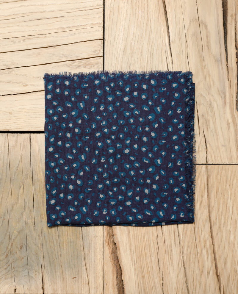 Gemustertes Tuch aus Wolle BLUE LEOPARD PEACOAT