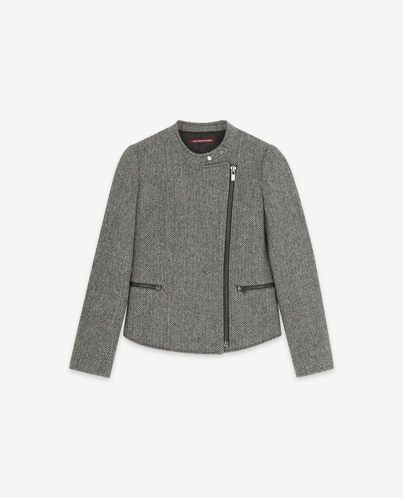 Wolltweed-Bikerjacke Medium heather grey Drible