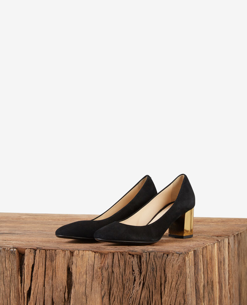 Pumps aus Veloursleder mit Metallic-Absatz Noir/gold Dedisco