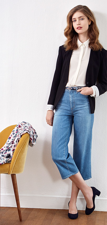 Look - Blazer, Jeans und Wildleder-Pumps