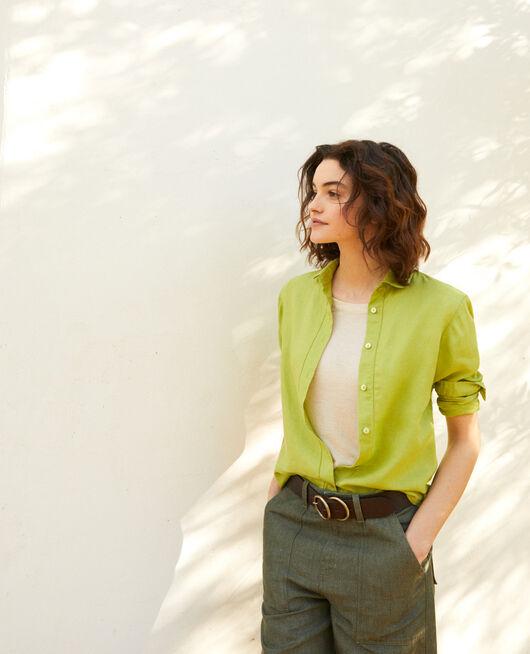 Bluse aus Leinen LIME GREEN