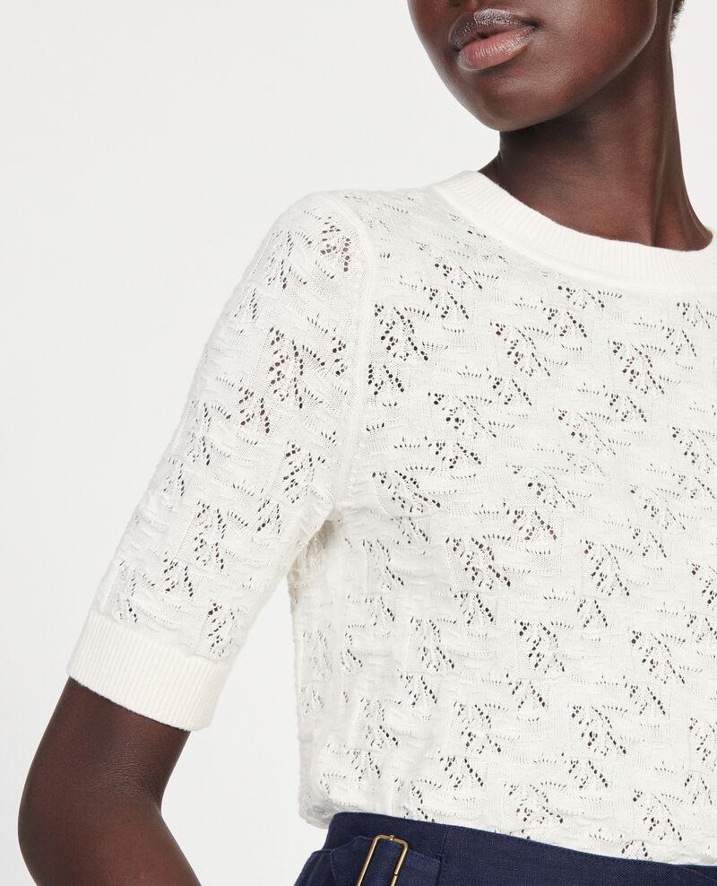 T-Shirt mit Pointelle-Muster Buttercream Lagos