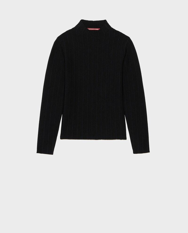 Pullover mit Stehkragen aus Merinowolle Black nightsky jacquard Marquisa