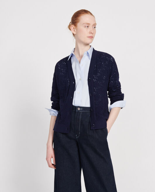 Cardigan mit Pointelle-Muster MARITIME BLUE