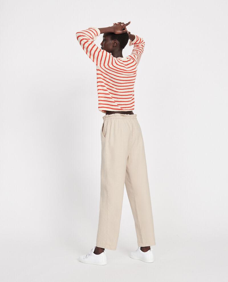 Hose mit Leinen und Baumwolle Oxford tan Loranki