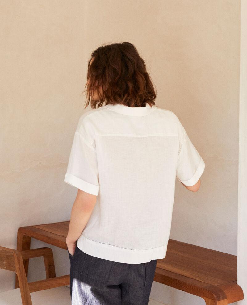 Bluse mit offenem Kragen aus Leinen Off white Ilage