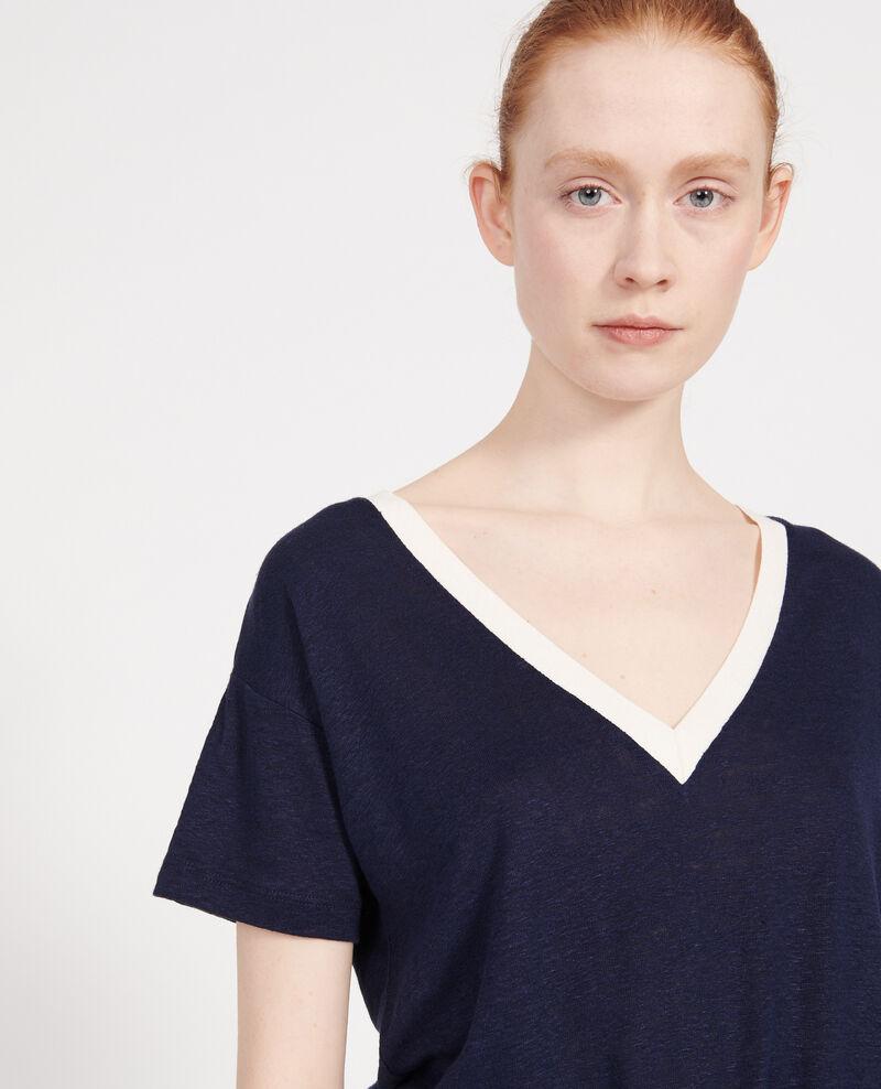 T-Shirt aus Leinen Stripes maritime blue buttercream Locmelar