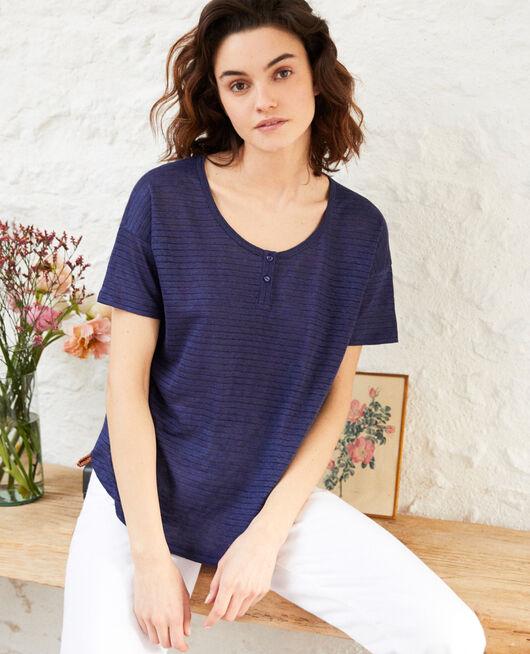 Glänzendes T-Shirt mit Leinen SAPPHIRE NAVY