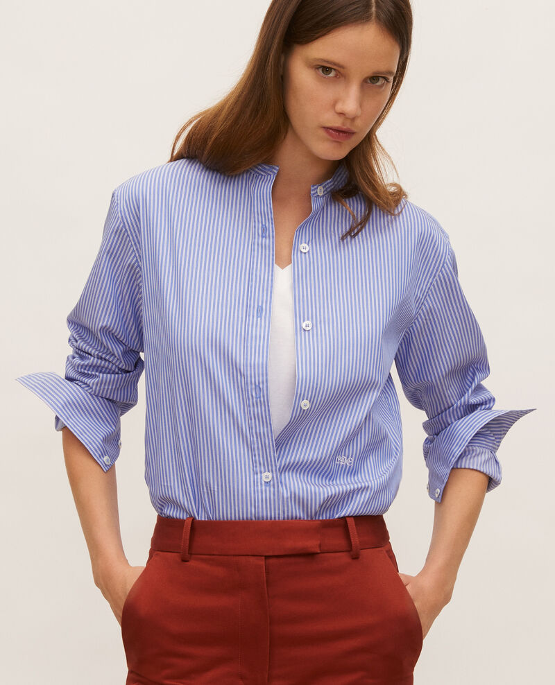 Bluse ohne Kragen aus Baumwolle Popeline stripe2 Lannion