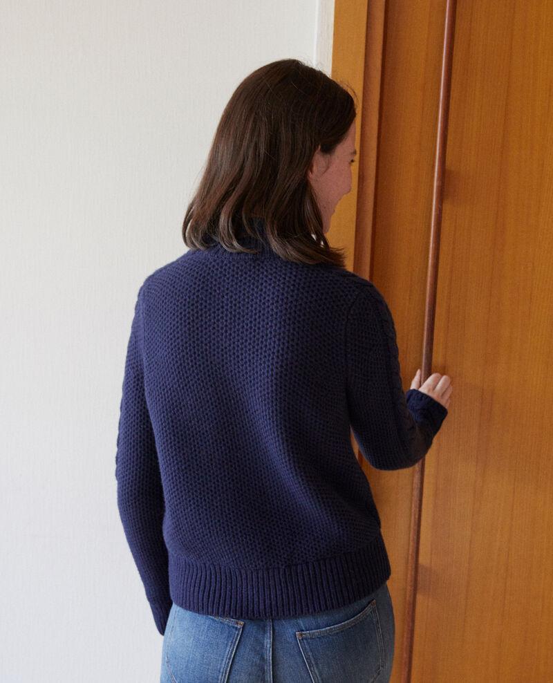 Pullover aus Wolle mit Flechtdetail Peacoat Garouk