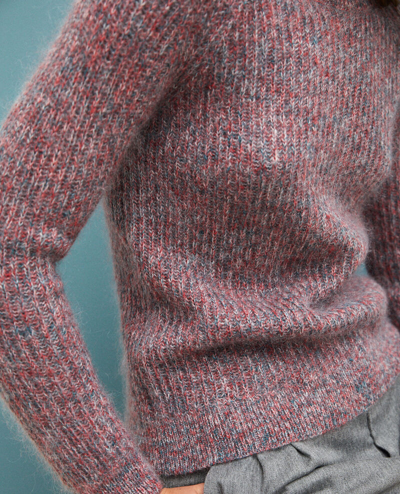 Melierter Pullover aus Mohair Pompeian red/ultra green/off white Girofle