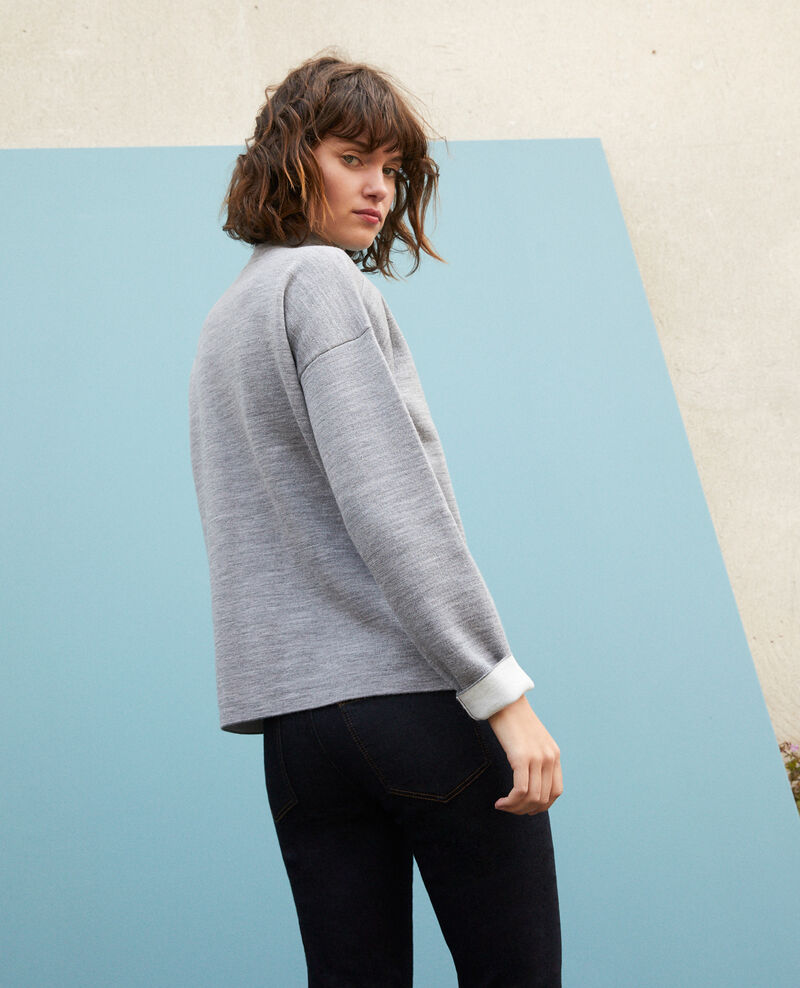 Doppelseitiger Pullover aus Merinowolle Light heather grey/off white Gibbon