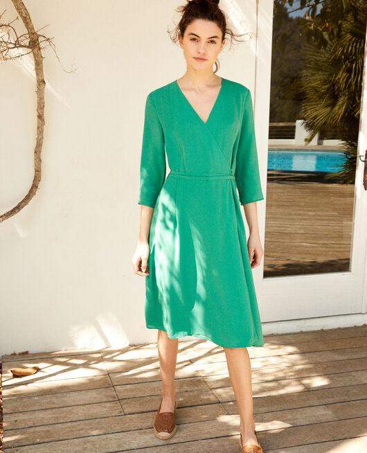 Wickelkleid aus Seide GREEN