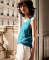 Top aus Strick mit Ajourmusterdetails Pacific green Flanelle