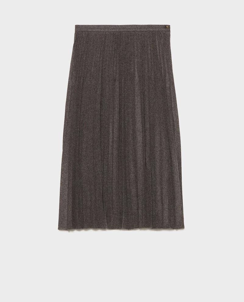Plissee-Rock aus Wolle Medium grey melange Mareille