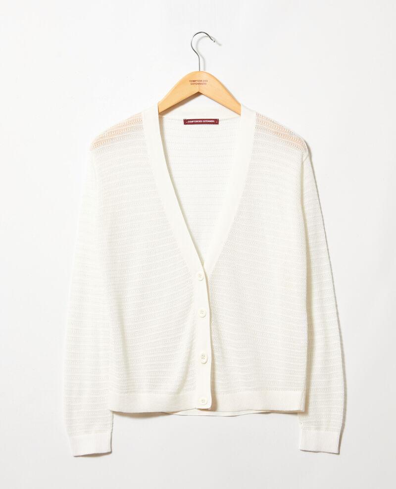 Cardigan en maille ajourée en coton et soie Off white Icardi